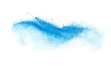 Photo for Freeze motion of blue dust explosion isolated on white background - Royalty Free Image