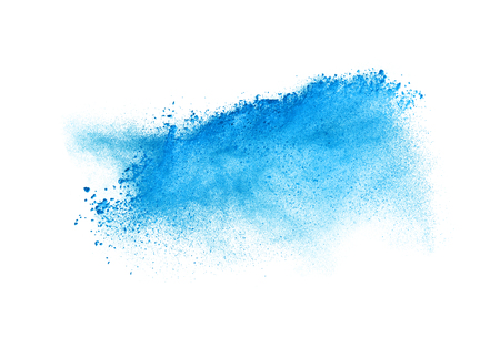 Photo pour Freeze motion of blue dust explosion isolated on white background - image libre de droit