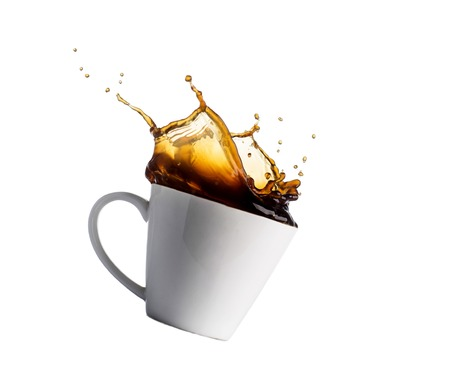 Photo pour cup of splashing coffee isolated on white. - image libre de droit