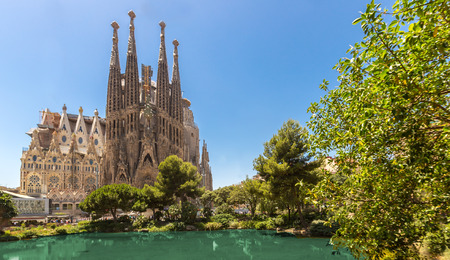 Foto de Barcelona city and sagrada familia at sunny day,Spain - Imagen libre de derechos