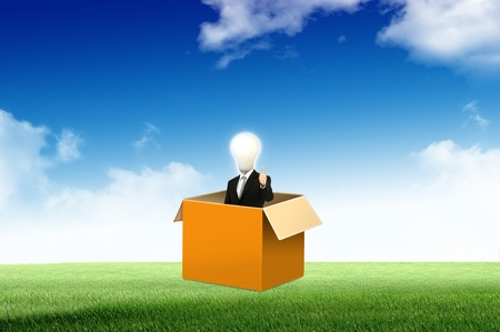 Photo for Anonymous businessman with think out side the box for concept idea - Royalty Free Image