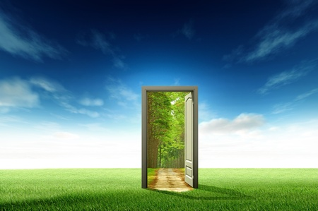 Photo pour Door open to the new world, for environmental concept and idea - image libre de droit