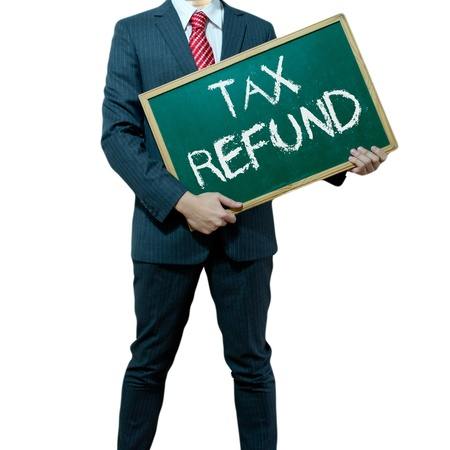 Photo pour Business man holding board on the background, Tax Refund - image libre de droit