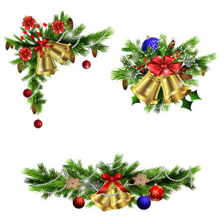 Illustration for Christmas decoration  with evergreen trees bells   and  with balls - Royalty Free Image