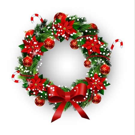 Illustration pour White card with Christmas wreath and bow - image libre de droit