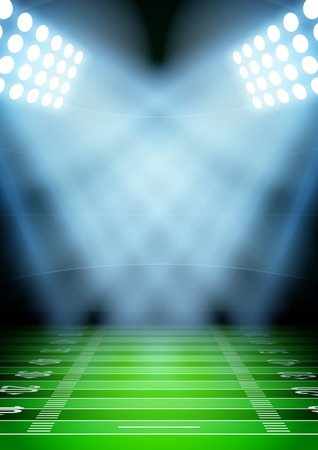 Illustration for Vertical Background for posters night football stadium in the spotlight. Editable Vector Illustration. - Royalty Free Image