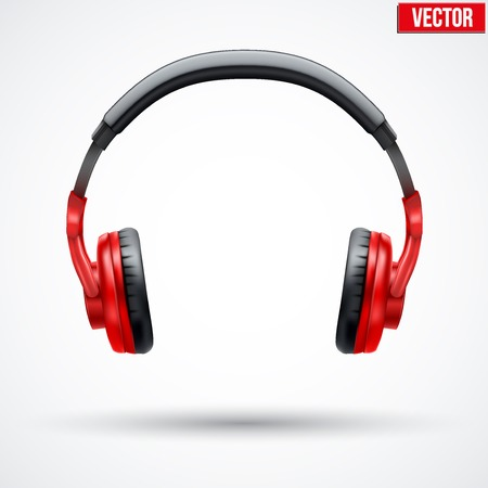 Ilustración de Realistic black Headphones. Vector Illustration Isolated on White Background - Imagen libre de derechos