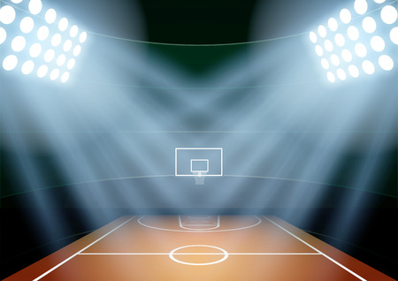 Photo pour Horizontal Background for posters night basketball stadium in the spotlight. Editable Vector Illustration. - image libre de droit