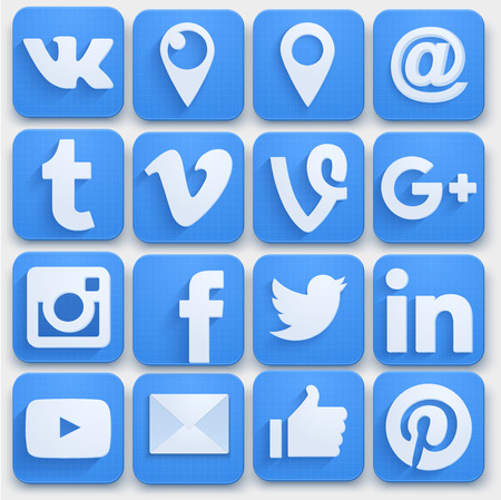 Ilustración de Set of Social media icons networking. Premium style. Vector llustration. - Imagen libre de derechos