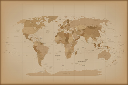 Photo for Vintage World Map. Vector illustration Isolated on white background. - Royalty Free Image