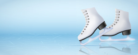 Illustration pour Banner Template Ice Poster Template of Ice Skating Rink with ice skate boots. Figure skating sport. Weekend Recreation Advertising and Announcement. Vector Illustration. - image libre de droit