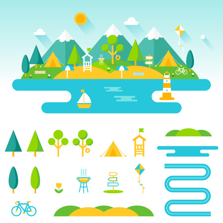Illustration pour Lake, beach, woods and mountains summer landscape. Set of outdoor, camping and recreation elements to create custom designs - image libre de droit