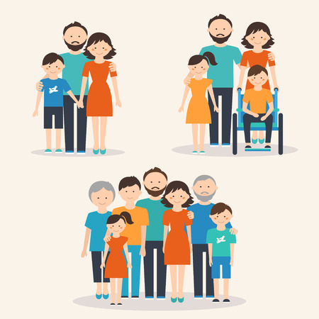 Photo pour Nuclear Family, Family with Special Needs Child and Extended Family. Families of Different Types - image libre de droit