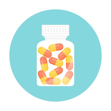 Illustration pour Medicine Capsule Pills in Bottle. Round Icon - image libre de droit