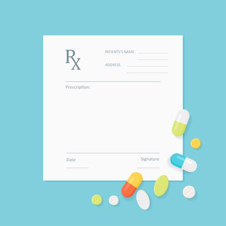 Illustration pour Blank Medicine Prescription Form with Pills Scattered on It. Vector EPS 10 - image libre de droit