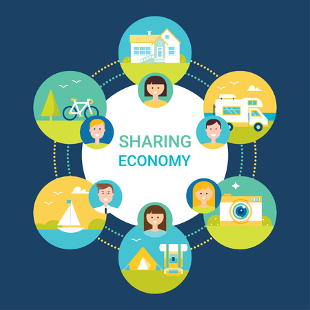 Illustration pour Sharing Economy Illustration. People and Objects Icons. Flat Style - image libre de droit