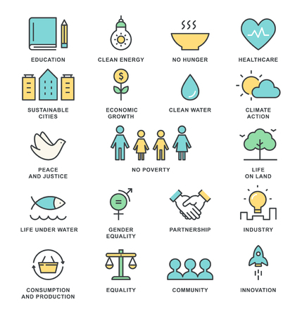 Ilustración de Sustainable Development Goals and Sustainable Living Implementation Concept Line Art Vector Icons - Imagen libre de derechos