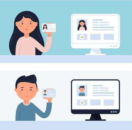 Illustration pour People Holding up ID Cards. - image libre de droit