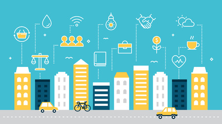 Illustration pour Smart Sustainable City Development Vector Illustration. - image libre de droit