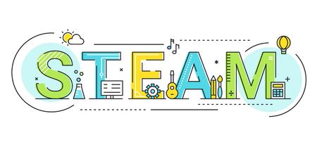 Illustration pour Steam Education Approach and Movement Concept Vector Illustration. - image libre de droit