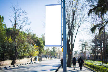 Photo pour large flag blank billboard on a street banners with room to add your own text - image libre de droit