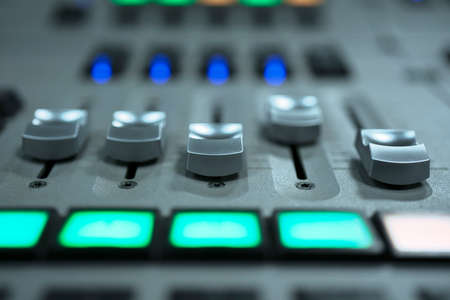 Photo for mixing console fader. music and light production, broadcasting concept - Royalty Free Image