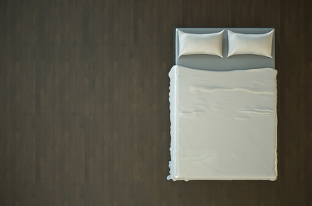 Top view of an empty bed with white bedding. 3D render.