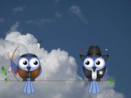 Native American and Cowboy birds sat on a tree branch against a cloudy blue sky