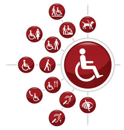 Illustration pour Red Disability related icon set isolated on white background - image libre de droit
