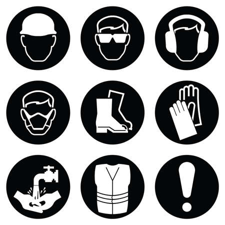 Illustration pour Monochrome black and white Construction and manufacturing Industry Health and Safety Icon collection isolated on white background - image libre de droit