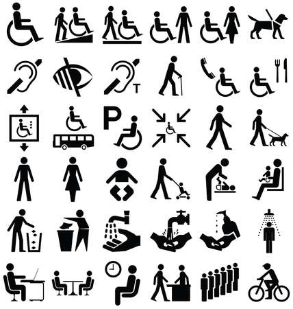 Illustration pour Black and white disability and people related graphics collection isolated on white background - image libre de droit