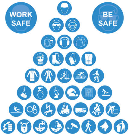 Illustration pour Blue and white construction manufacturing and engineering health and safety related pyramid icon collection isolated on white background with work safe message - image libre de droit