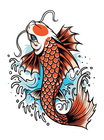 Illustration pour Koi fish japan illustration - image libre de droit
