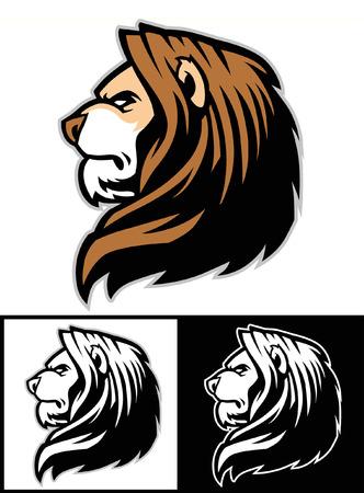 Ilustración de Set of lion head mascot - Imagen libre de derechos
