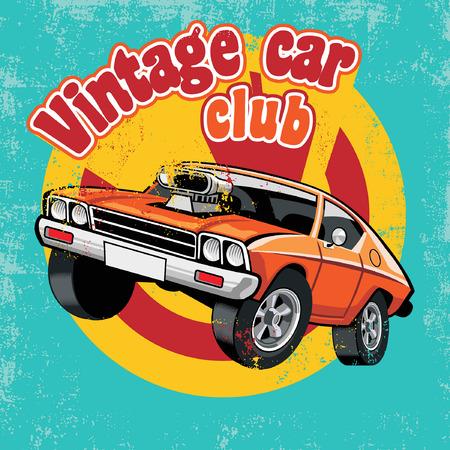 Illustration pour vintage club car design in vintage style - image libre de droit