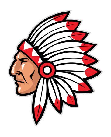 Ilustración de head mascot of native american warrior - Imagen libre de derechos