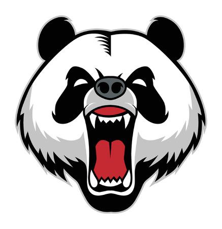 Illustrazione per angry panda head mascot vector illustration. - Immagini Royalty Free