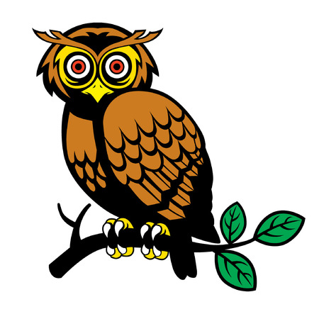 Illustration pour owl standing at the tree branch vector illustration. - image libre de droit