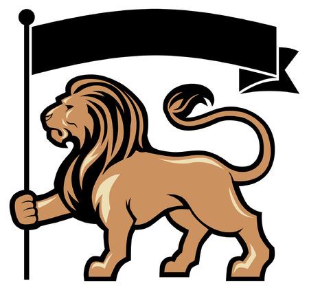 Illustration pour lion mascot hold the blank flag for text space - image libre de droit