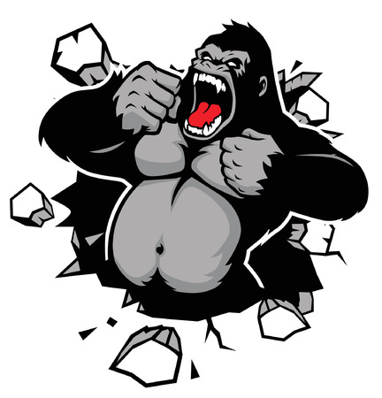 Illustration pour angry of gorilla breaking the wall - image libre de droit