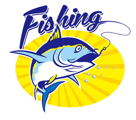 Illustration pour Tuna fishing concept design - image libre de droit