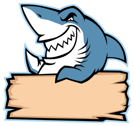 Ilustración de angry shark cartoon mascot with blank plank for text space - Imagen libre de derechos