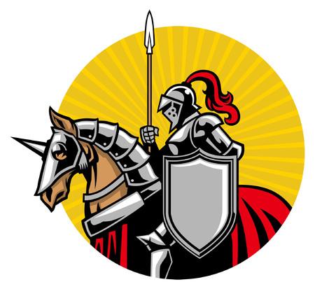 Ilustración de knight mascot riding the horse illustration - Imagen libre de derechos