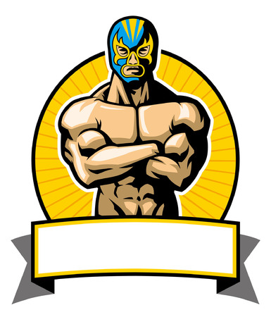 Illustration for Mexican wrestler with mask - Royalty Free Image