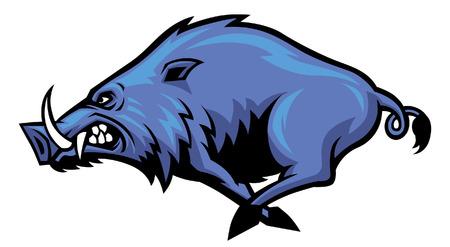 Illustration pour Running wild hog mascot - image libre de droit