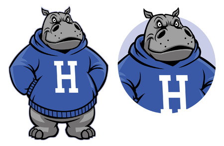 Illustration for Hippo mascot in set - Royalty Free Image