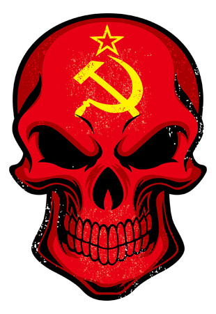 Illustration pour Soviet Union flag painted on the skull - image libre de droit
