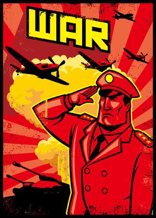 Illustration pour War poster with saluting soldier - image libre de droit