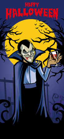 Illustration pour halloween greeting card with vampire character inside - image libre de droit