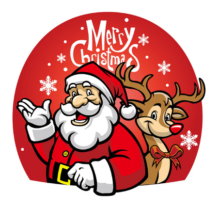 Illustration pour cartoon of santa claus and the deer - image libre de droit